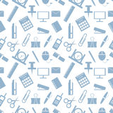 Seamless vector pattern. Pastel background with elements of green office supplies on the white backdrop Royalty Free Stock Photography