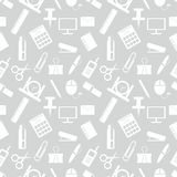 Seamless vector pattern. Pastel background with elements of office supplies on the grey backdrop Royalty Free Stock Photo