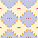 Seamless vector pattern, pastel blue and yellow geometric background with hearts Stock Photos