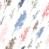 Seamless vector pattern - pastel hand drawn feathers Stock Photography
