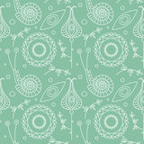 Seamless vector pattern. Pastel monochrome repeating background with decorative ornamental snails, flowers and leaves on the white Royalty Free Stock Photography