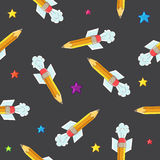 Seamless vector pattern of the pencil-rocket Royalty Free Stock Image
