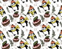 Seamless vector pattern with penguins on it vector illustration