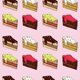 Seamless vector pattern with pieces of cake Stock Photos