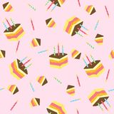 Seamless vector pattern with pieces of cake. Vector illustration Stock Photo
