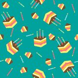 Seamless vector pattern with pieces of cake. Vector illustration Stock Images