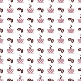 Seamless vector pattern with pink coffee cups with dots and grains on the white background Royalty Free Stock Photos
