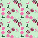 Seamless vector pattern with pink decorative ornamental cherries on the light blue background. Repeating ornament. Royalty Free Stock Image