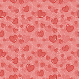 Seamless vector pattern with pink hearts ad abstract dotted lines on light pink background. Vector illustration. Valentine day. Ba Royalty Free Stock Photography