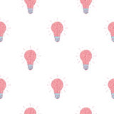 Seamless vector pattern of pink light bulbs in the form of a brain Stock Image