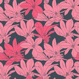 Seamless vector pattern with pink magnolia. Seamless vector pattern with magnolia on gray background vector illustration