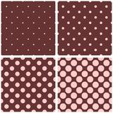Seamless vector pattern with pink polka dots on brown background. Seamless vector pattern with pastel pink polka dots on chocolate brown background for tile vector illustration