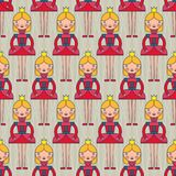 Pink Princess Seamless Pattern. Seamless vector pattern with pink princesses Stock Image