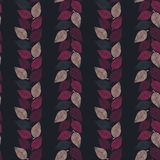 Seamless vector pattern with pink and purple leaves forming vertical stripes on dark background royalty free illustration