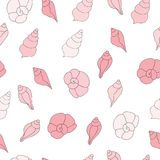 Seamless vector pattern with pink sea shells on the white background Royalty Free Stock Image