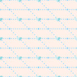 Seamless vector pattern, pink symmetrical  background with blue hearts Stock Images