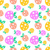 Seamless vector pattern with pink and yellow decorative ornamental cute strawberries and dots on the white background. Royalty Free Stock Photo