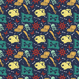 Seamless vector pattern with pirate stuff Royalty Free Stock Images