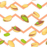 Seamless vector pattern of pistachios nut. Striped zig-zag background with delicious walnut, leaves. Illustration can be Stock Images