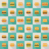 Seamless vector pattern of pixel burgers. Seamless pattern of pixel burgers in flat design style Royalty Free Stock Photography