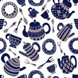 Seamless vector pattern with plate, fork, spoon, teapot and cup stock illustration