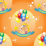 Seamless vector pattern with pony and balloons Royalty Free Stock Image