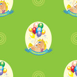 Seamless vector pattern with pony and balloons on green backgrou Royalty Free Stock Photography