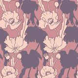 Seamless vector pattern with poppy flowers Royalty Free Stock Photo