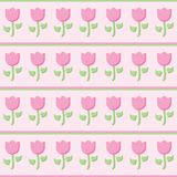 Pink tulip seamless vector pattern with horizontal lines stock illustration