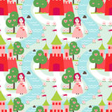 Seamless vector pattern with princess Stock Images