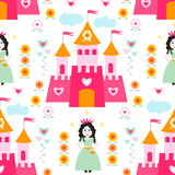 Seamless vector pattern with princess Stock Image