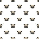 Seamless vector pattern with pug. Dog head flat icon. Repeating background for textile design, wrapping paper, wallpaper or scrapbooking Stock Images