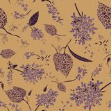 Seamless vector pattern with purple beautiful lilac flowers royalty free illustration