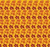 Seamless vector pattern with purple flowers and pink leaves on contrasting vivid yellow background vector illustration
