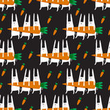 Seamless vector pattern with rabbits Royalty Free Stock Photos