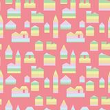 Seamless vector pattern with rainbow buildings vector illustration
