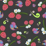 Seamless vector pattern with raspberries and birds. stock illustration