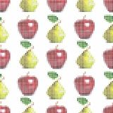 Seamless vector pattern with realistic pixel apples and pears isolated on an white background. 3D effect. vector illustration