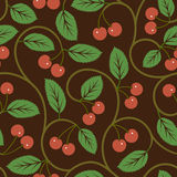Seamless vector pattern with red cherries Stock Photos