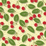 Seamless vector pattern with red cherries Stock Image