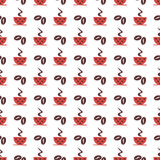 Seamless vector pattern with red coffee cups with dots and grains on the white background Royalty Free Stock Images