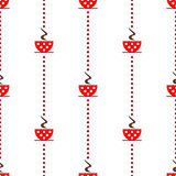 Seamless vector pattern with red coffee cups with dots on the white background Stock Images