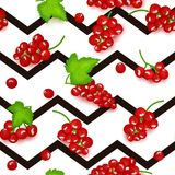 Seamless vector pattern of red currant fruit. Striped zig zag background with red currant berries for design of food Stock Photo