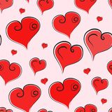 Seamless cute vector pattern with red hearts vector illustration