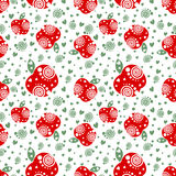 Seamless vector pattern with red ornamental apples and decorative elements. On the white background. Repeating ornament. Series of Fruits and Vegetables Vector Illustration