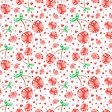 Seamless vector pattern with red ornamental cherries and decorative elements on the white background. Repeating ornament Stock Photos