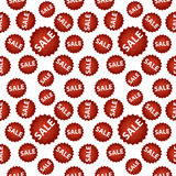 Seamless vector pattern with red sale signs. Royalty Free Stock Photography