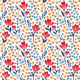 Seamless vector pattern with red and yellow. Seamless pattern with leaves and flowers, decorative floral texture royalty free illustration