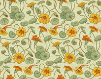 Seamless vector pattern with red and yellow nasturtium flowers and leaves on beige background Stock Image