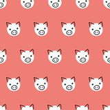 Seamless vector pattern repeat pigs. Cute polka dot pig faces background white on coral red. Geometric kids design. For fabric, stock illustration